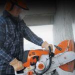 Резка бетонной стены бензорезом